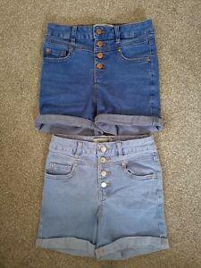 New Look Girls - 2 Denim Shorts age 10 - Light and Dark Blue Shorts
