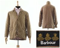 Mens BARBOUR Polarquilt Quilted Fleece Lining Coat Jacket Beige Size M