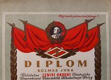 1955 Spartak Soviet Sports Society Diploma Litho Russia Estonia