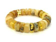 Amber BRACELET Natural Baltic Amber Yellow Honey Butter Beads Elastic 27g 11592