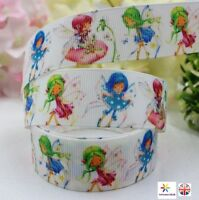"1m Fairy Ribbon Cute Garden Pixies White Grosgrain Ribbon 1"" 25mm"