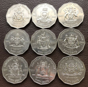 2001 9 Coin Set - Centenary Of Federation 50 Cent Coins All States Collection