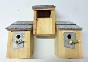 3 Bird House Nesting Boxes Welsh Slate 32 & 25 Robin sparrow great tit bluetits