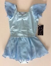 BLOCH CHILDRENS CL7092 PASTEL BLUE VIOLA LACE BACK SKIRTED LEOTARD AGE 4-6 NEW