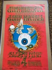"Bg-105 Jimi Hendrix ""Flying Eyeball"" 2nd Print Poster/ Rare Postcard/ 4 Tickets"