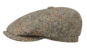 Stetson XL 61cm 7 5/8 100% Harris Tweed Virgin Wool Newsboy 6/4 Cap Gatsby Hat