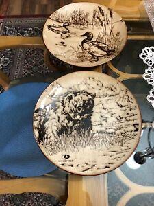 """Set of 2 Mossy Oak Porcelain Dinner Plates 11.25"""" Ducks, And Bear"""