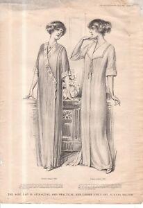 1912 Original Delineator Fashion Print - Kimono Wrapper, Empire Negligee