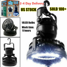 2-in-1 Portable LED Lantern with Ceiling Fan Camping Tent Tree Emergency Light