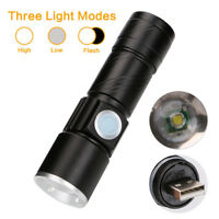 Mini CREE XPE 500 Lumens LED Flashlight USB Rechargeable 3 Mode Torch Power Bank