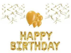 Geburtstags Deko Set gold Folienballon Schriftzug hängende Partydeko