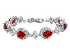 White gold finish pearcut red ruby and created diamonds tennis bracelet