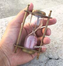 Vintage Brass & Glass Hourglass Sand Timer Antique Sand Clock Nautical Maritime