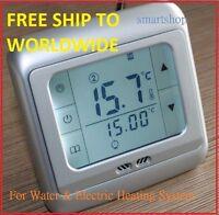 Digital Heating Thermostat room temperature controler floor & air sensor SILVER