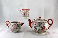Vintage Asian Hand Painted Porcelain Tea Pot Creamer Cup Japan Geisha Set of 4