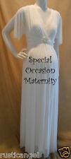 New Long Ivory Bridal Sheer Sleeves Wedding Maternity Dress MEDIUM Modest Formal