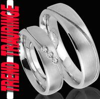 2 Hochzeitsringe Partnerringe aus Edelstahl mit STEIN & GRAVUR Gratis TE24-3