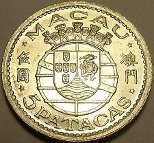Huge Rare Gem Unc Silver Macau 1952 5 Patacas~Portuguese Shield~Only Year~Fr/Shi