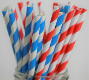 25 Union Jack Paper Straws, Red White, Blue White, Party, British, VE DAY