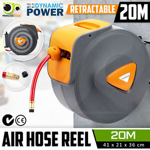 20M Retractable Air Hose Reel Commercial Auto Rewind Wall Mounted Storage Garage