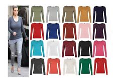 Womens Ladies Stretchy Long Sleeves Celebrity Plain Round Neck T Tee Shirt Top