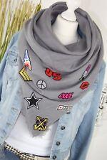 Panno Sciarpa XXL con Patch FASHION Sticker Sciarpa Grigio IT SCARF NUOVO h/m-65