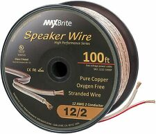 100 ft. High Performance 12 Gauge Speaker Wire Oxygen Free Pure Copper - UL CL2
