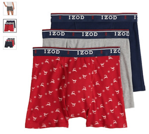 "Men's Izod 3-Pack Cotton Boxer Briefs 6"" inseam with Fly (Navy - Red - Gray)"