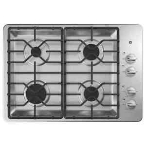 GE 30-in 4 burners stainless steel gas cooktop