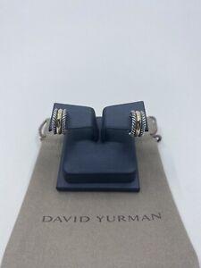 David Yurman Cable Collectibles Hoop Sterling Silver & 14k Gold Huggie Earrings