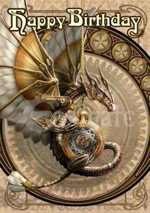 Clockwork Dragon Steampunk Birthday Card  Anne Stokes