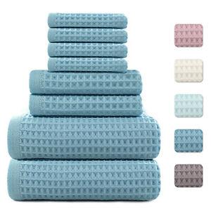 8Pcs Waffle Weave Luxury Bath Towel Set Extra Soft 100% Cotton Even Fit Baby Use
