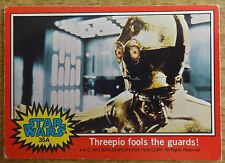 Topps Star Wars trading card red series, 35A, Threepio fools the guards!