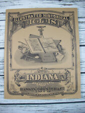 Large 1876 Historical Atlas Maps of Indiana 1968 Reproduction Illustrated
