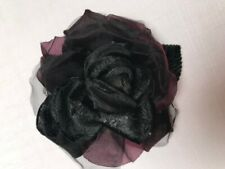 pin brooch best for St.John outfits Handmade black & purple large rose flower