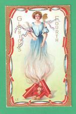 VINTAGE PATRIOTIC JULY 4TH POSTCARD LADY LIBERTY SMOKE SCROLL STAFF FIREWORKS
