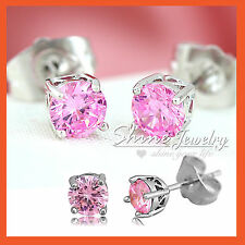 18K WHITE GOLD GF SILVER LADIES GIRLS PINK CRYSTAL ROUND STUD EARRINGS XMAS GIFT