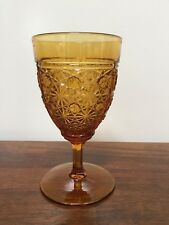 Amber Pressed Glass Daisy & Button Water Goblet