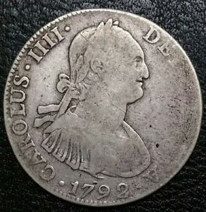 1792 FM Mexico 4 Reale Milled Bust King Charles IIII US Colony Silver Cob Coin