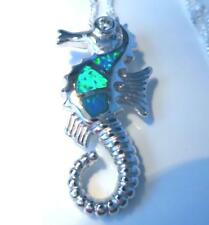 GORGEOUS BLUE FIRE OPAL SEA HORSE  PENDANT