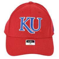 NCAA Adidas Kansas Jayhawks TM14Z Flex Fit Large XLarge Hat Cap Red Structured
