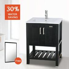 "24"" Bathroom Vanity Organizer W/ Mirror White Rectangle Ceramic Sink W/ Faucet"