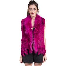 100% Real Knitted Rabbit Fur Waistcoats Vest Gilet Tassel Design Coats S -XXXL