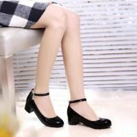 Women's Patent Leather Ankle Strap Block Heel OL Lolita  Mary Janes Sweet Shoes