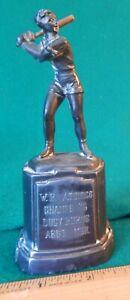 "1946 Womens 6"" WB Atomics BASEBALL TROPHY Batter Retro Decco Metal Patina VG"