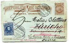 Bolivia Tarjeta Postal to Switzerland 1905 s/scans