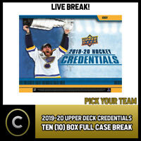 2019-20 UPPER DECK CREDENTIALS 10 BOX (FULL CASE) BREAK #H765 - PICK YOUR TEAM