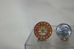 Miniature Dollhouse Jane Graber Redware Pottery Folk Art Plate Quilt Star 1:12