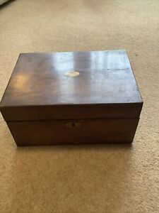 Antique Vintage Wooden Writing Slope Box For Restoration includes glass ink well