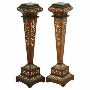 PAIR OF 19TH CENTURY ANGLO INDIAN ROSEWOOD INLAID PEDESTAL TORCHERE STANDS PLANT